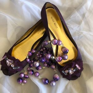 Nine West Purple Peep Toe Rhinestone Flats